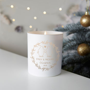 Couple's Christmas Gift Personalised Penguin Candle