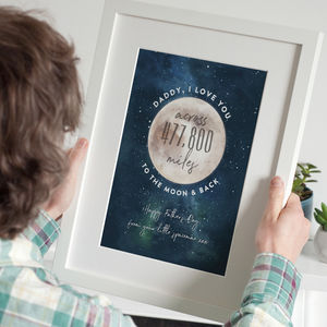 Love You Across The Miles To The Moon And Back Print - gifts for him