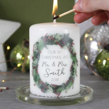 First Christmas As Mr And Mrs Wreath Candle