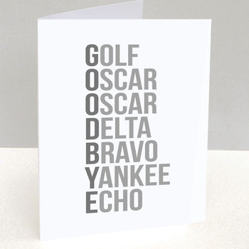 Goodbye Phonetic Alphabet Leaving Card
