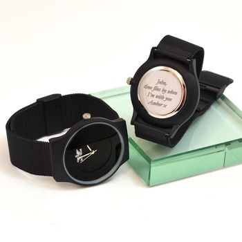 Personalised Wrist Watch Black Minimal Dial