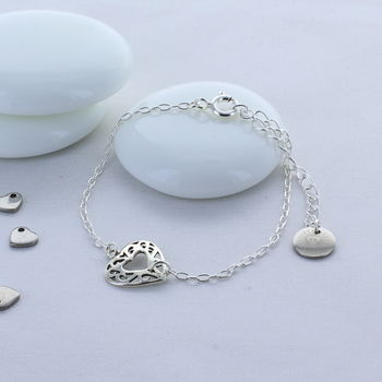Silver Decorative Heart Bracelet
