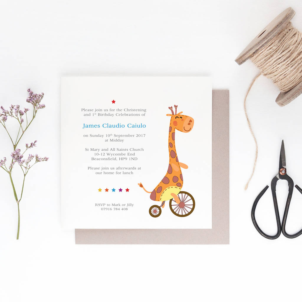 10 cutie giraffe personalised invitations by gorgeous creations ...