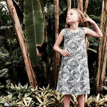 Monochrome Tropical Swing Dress