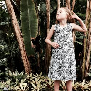 Monochrome Tropical Swing Dress - dresses