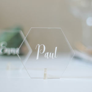 Personalised Place Setting, Clear Acrylic, Hexagon - wedding stationery