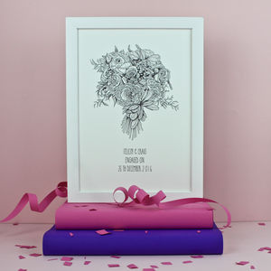 Engagement Bouquet Personalised Print - posters & prints