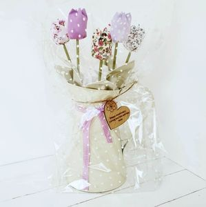 Cotton Anniversary Tulips In Metal Jug And Engraved Tag - living room