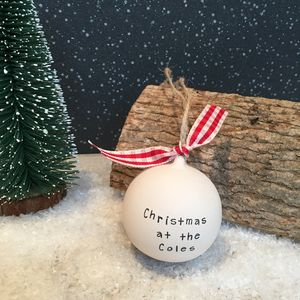 Personalised 'Christmas At The' Ceramic Bauble