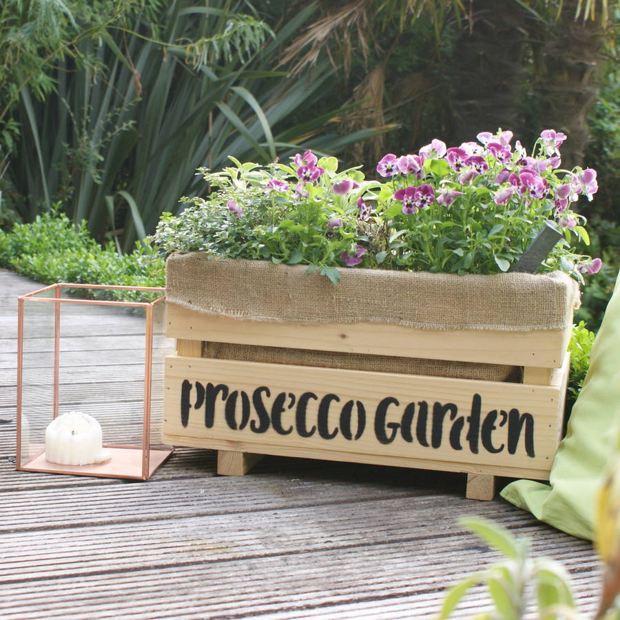 White Outdoor Patio 36 Deluxe Large Garden Planter Flower: Prosecco Cocktail Garden Kit And Large Wooden Planter By