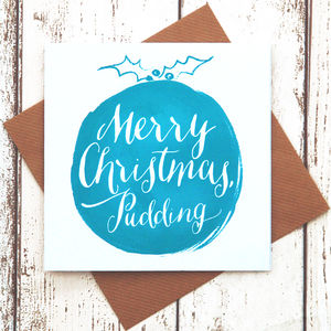 Calligraphic Christmas Pudding Card Turquoise - shop by category