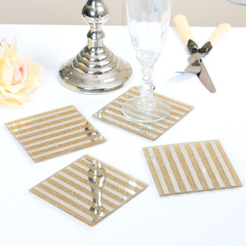 Set Of Four Barres Modern Glitter Coasters