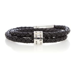 Grow Old With Me Black Wrapped Men's Leather Bracelet