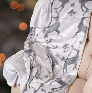Luxury Winter Grey Stag Throw - blankets & throws