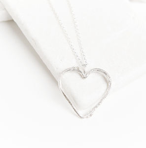 Silver Twig Heart Necklace