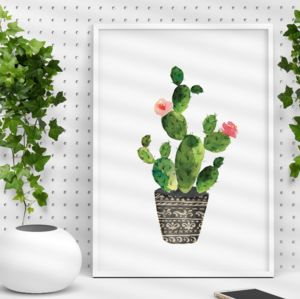 Ornate Potted Cactus Illustration Print