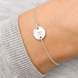 Personalised Hammered Initial Disc Bracelet - jewellery sale
