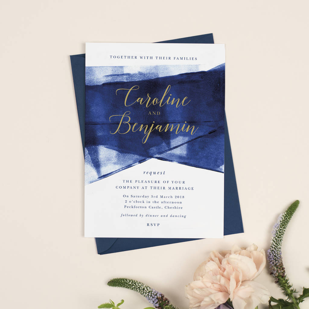 Gold Wedding Invitations.Grace Navy And Gold Wedding Invitations