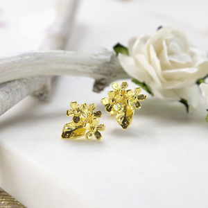 Gold Plated Sterling Silver Flower Stud Earrings