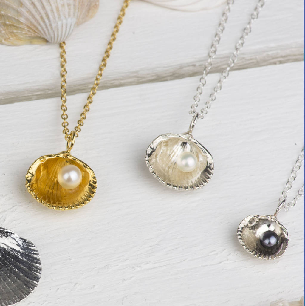 Silver sea shell pendant with pearl by kate wimbush jewellery silver sea shell pendants aloadofball Choice Image