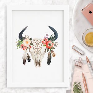 'Bohemian Stag And Bull Skull' Floral Print - animals & wildlife