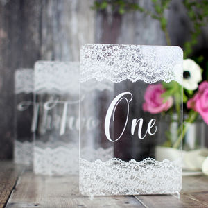 Lace Wedding Table Number