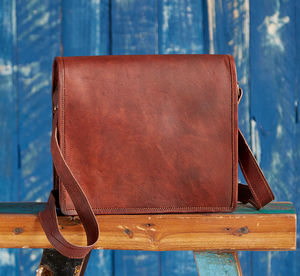 Brown Leather Courier / Messenger Bag