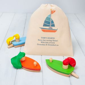 Wooden Balloon Boat Toys With Personalised Gift Bag