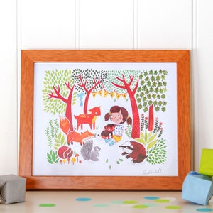 A Child's Personalised Woodland Print - posters & prints