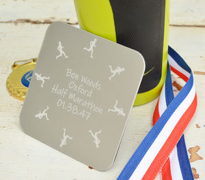 Personalised Etched Runner's Coaster