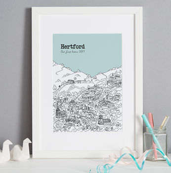 Hertford print in colour 7 Ice, font style 2