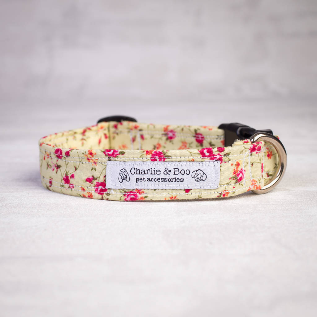 Pink Floral Dog Collar For Girl Or Boy Dogs By Charlie And Boo