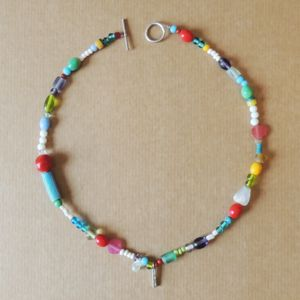 Semi Precious Stone And Glass Bead Necklace - new in jewellery