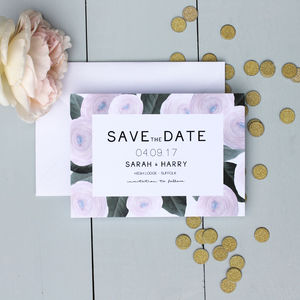 Modern Floral Save The Date Card