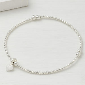 Sterling Silver Beaded Tiny Frosted Heart Bracelet - wedding fashion