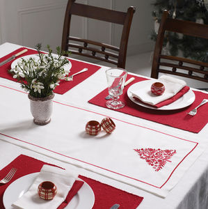 Christmas Table Centre With Red Tree Embroidery