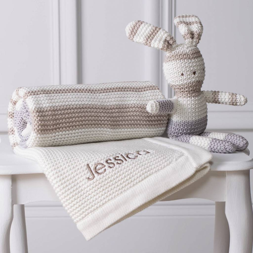 Personalised Organic Blanket And Knitted Toy Gift Set