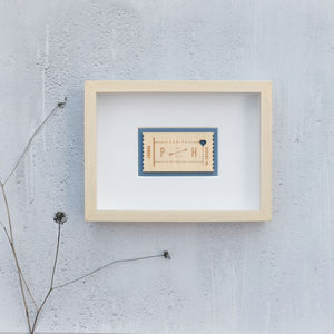 Personalised Anniversary Frame For Couple Wooden Ticket
