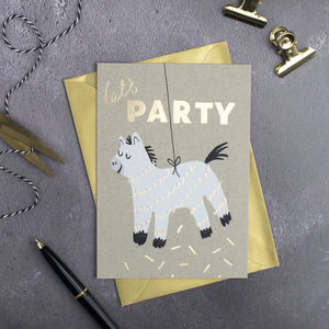 'Let's Party' Gold Card - birthday cards