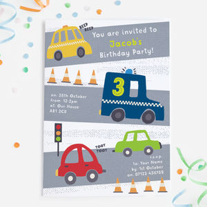 Car Themed Birthday Party Invitations