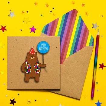 Handmade Happy Birthday Personalised Bear Card