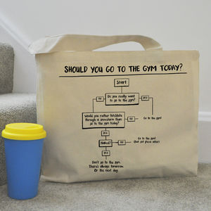 'Should You Go To The Gym Today?' Funny Gym Tote Bag