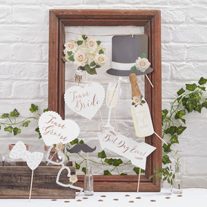 Rose Gold Design Wedding Photo Booth Props Kit