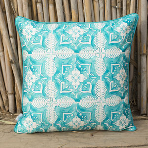 Tilework Turquoise Embroidered Cushion - cushions