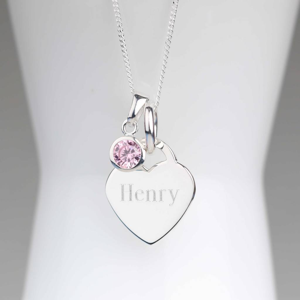 Engraved silver heart necklace with birthstone by nest engraved silver heart necklace with birthstone mozeypictures Gallery