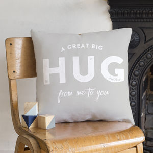 'A Hug From Me To You' Faux Suede Cushion - cushions