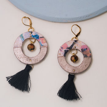 Galactic Marbled Statement Tassel Hoop Earrings