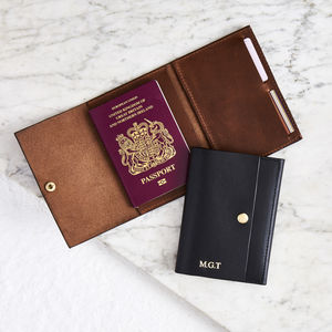 Personalised Leather Passport Holder With Luxe Leather