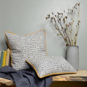 Yellow Piped Linen Cushion 'Marsh' Dash Pattern