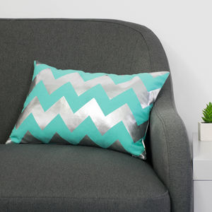 Metallic Chevron Cushion In Teal And Silver